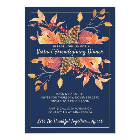 Friendsgiving Autumn Leaves Virtual Dinner Invitation