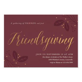 Friendsgiving dinner party invitation faux foil