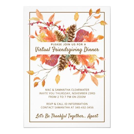 Friendsgiving Fall Leaves Virtual Dinner Invitation