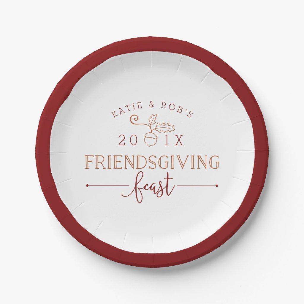 Friendsgiving Feast Paper Plate