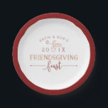 """Friendsgiving Feast Paper Plate<br><div class=""""desc"""">Hosting turkey day with your besties? Serve up Thanksgiving goodies on these festive &quot;Friendsgiving&quot; paper plates in fall shades of garnet and pumpkin. Design features a dark red border with your names,  the year,  and &quot;Friendsgiving feast&quot; in trendy block and script typography with an acorn illustration.</div>"""