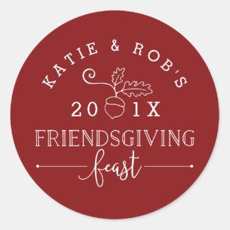 Friendsgiving Feast Thanksgiving Classic Round Sticker
