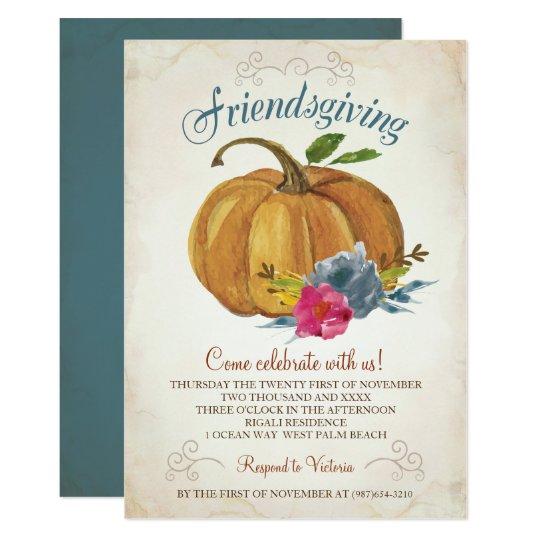 friendsgiving invitation thanksgiving pumpkin zazzle com
