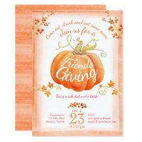 Friendsgiving pumpkin watercolor art invitations