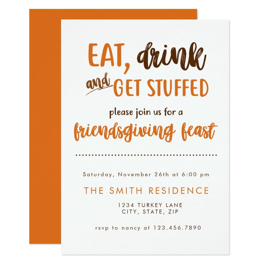 Friendsgiving Thanksgiving Dinner Feast Potluck Invitation