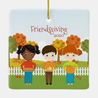 Friendsgiving Thanksgiving Feast Ceramic Ornament