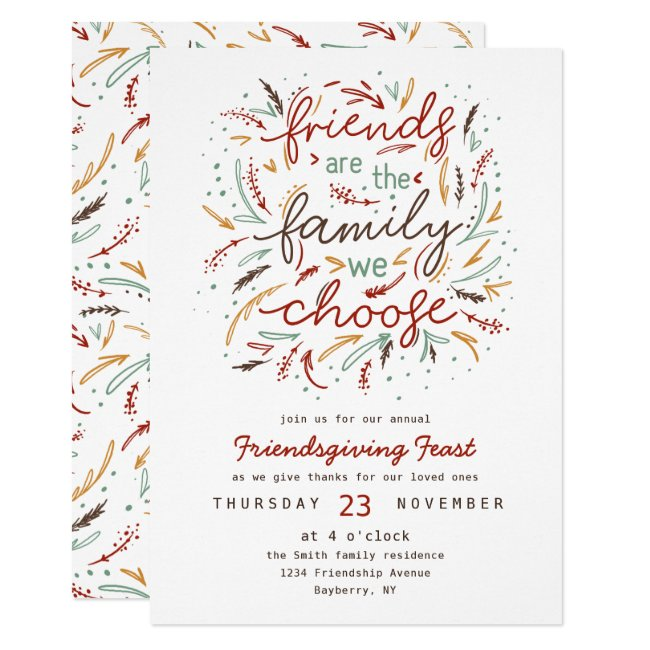 Friendsgiving Typography Thanksgiving Dinner Invitation