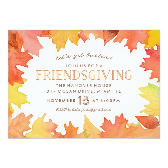 friendsgiving watercolor invitation zazzle com