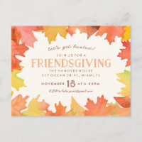 Friendsgiving Watercolor Invitation Postcard