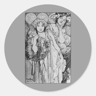 Friendship ~ Alphones Mucha  ~ 1904 Classic Round Sticker