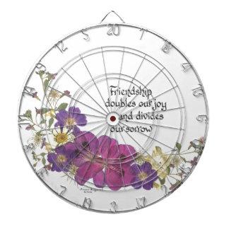 Friendship and flowers dart board