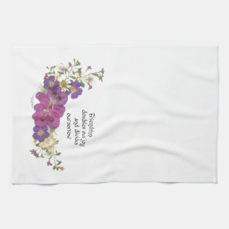Friendship and flowers kitchen towel