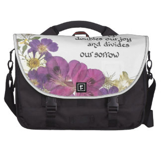 Friendship and flowers laptop bag