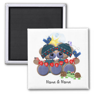 Friendship Bears (personalized) 2 Inch Square Magnet
