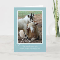 Friendship Blank Note Card with Sheep and Goat