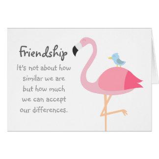 Friendship Cartoon: Pink Flamingo with Blue Bird Greeting Card