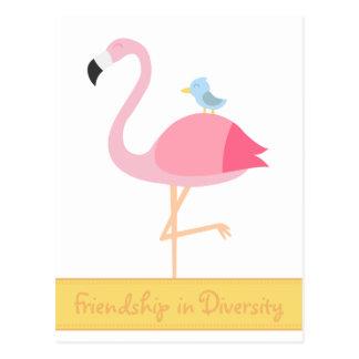 Friendship Cartoon: Pink Flamingo with Blue Bird Postcard