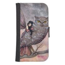 Friendship Fairy and Owl Autumn Fairy Fantasy Art Phone Wallet