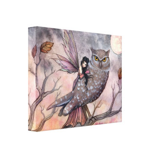 Friendship Fairy and Owl Wrapped Canvas Print