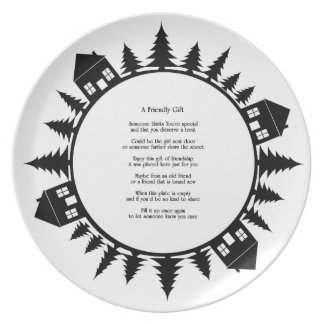 Friendship Gift Plate Black and White