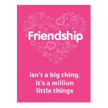 Friendship is a million things cute quote designed postcard