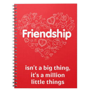 Friendship is a million things cute quote designed spiral notebook