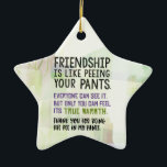 "Friendship Is Like Peeing Your Pants Ceramic Ornament<br><div class=""desc"">Friendship is like peeing your pants. Everyone can see it,  but only you can feel its true warmth. Thank you for being the pee in my pants.</div>"