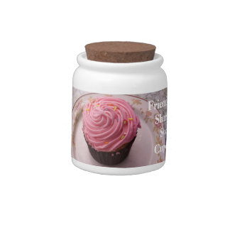 Friendship is Sharing a Sweet Cupcake Frosted Pink Candy Dish