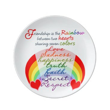 ironydesigns Friendship is the rainbow BFF Saying Design Dinner Plate