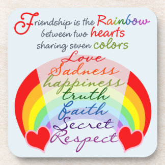Friendship is the rainbow BFF Saying Design Drink Coaster