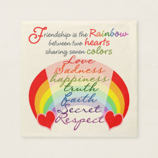 Friendship is the rainbow BFF Saying Design Napkin