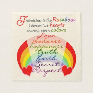 Friendship is the rainbow BFF Saying Design Napkin