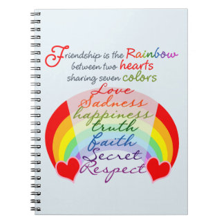 Friendship is the rainbow BFF Saying Design Notebook