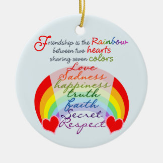 Friendship is the rainbow BFF Saying Design Double-Sided Ceramic Round Christmas Ornament