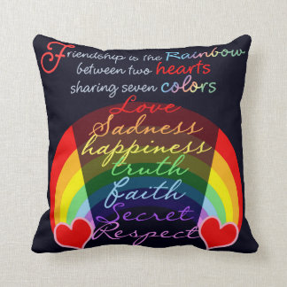 Friendship is the rainbow BFF Saying Design Pillows