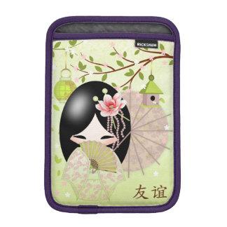 Friendship , Kokeshi Doll In Spring Green iPad Mini Sleeves