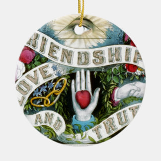 Friendship, Love, and Truth Round Ceramic Ornament