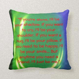 friendship message throw pillow