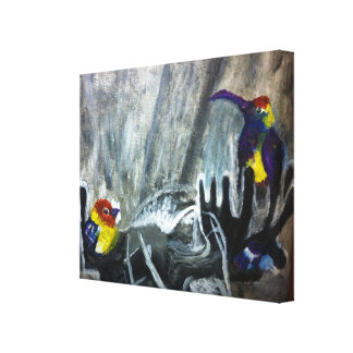 friendship moose hanging out together with birds gallery wrapped canvas