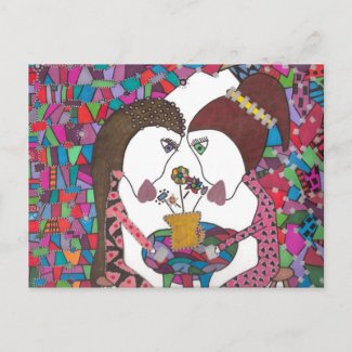 friendship over coffee on postcard