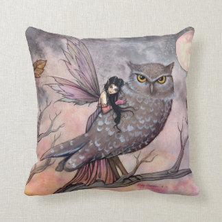 Friendship Owl and Fairy Throw Pillow