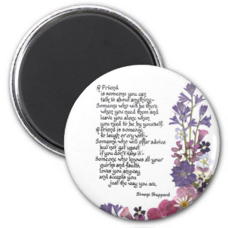 Friendship poem 2 inch round magnet