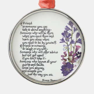 Friendship poem metal ornament