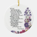 Friendship poem Double-Sided ceramic round christmas ornament