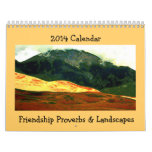 friendship proverbs with landscape art calendar