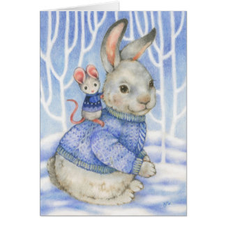 Friendship Rabbit and Mouse Cute Christmas Card