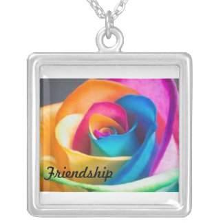 Friendship rainbow rose silver plated necklace