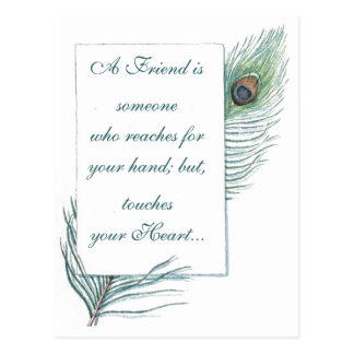 Friendship Retro Vintage Peacock Feather Postcard