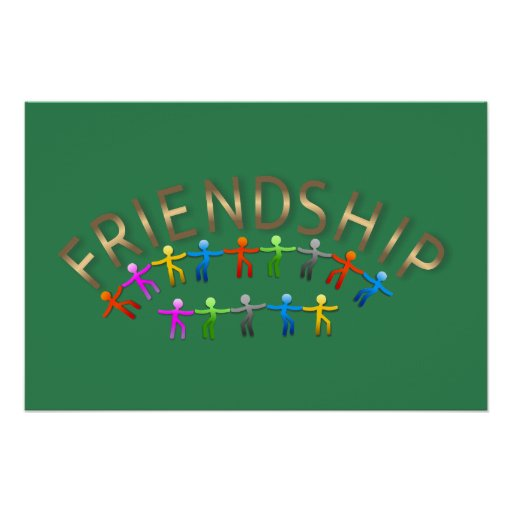 Friendship Stick Figures Holding Hands Canvas Poster
