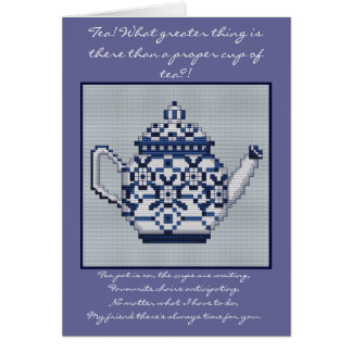 FRIENDSHIP TEA Cross Stitch Style Design Greeting Cards